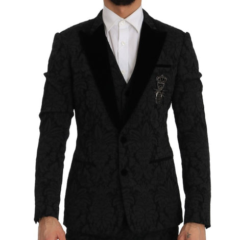 Dolce & Gabbana Black Slim Fit 3 Piece Crystal Bee Suit