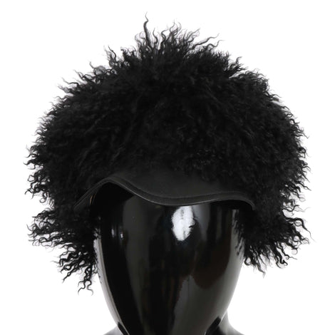 Dolce & Gabbana Black Tibet Lamb Fur Leather Gatsby Hat - Women - Accessories - Hats - Dolce & Gabbana | Gethuda Fashion