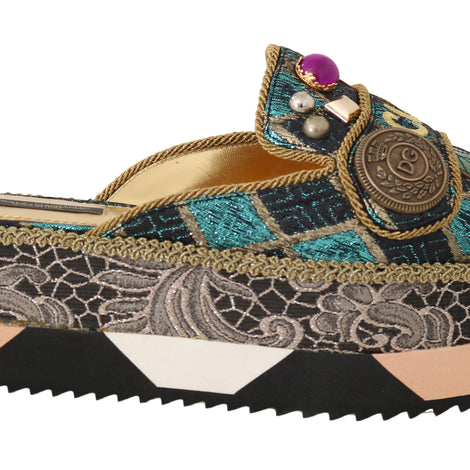 Dolce & Gabbana Multicolor Leather Crystal Shiny Slides - Women - Shoes - Wedges Espadrilles - Dolce & Gabbana | Gethuda Fashion