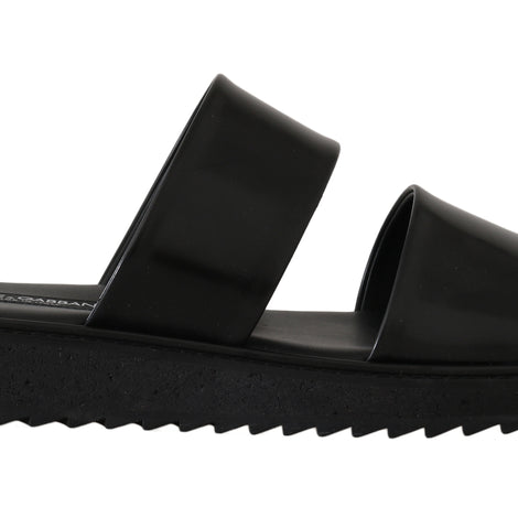 Dolce & Gabbana Black Leather Slides Flats Sandals - Men - Shoes - Sandals - Dolce & Gabbana | Gethuda Fashion