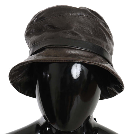 Dolce & Gabbana Brown Lamb Leather Bucket Hat - Women - Accessories - Hats - Dolce & Gabbana | Gethuda Fashion