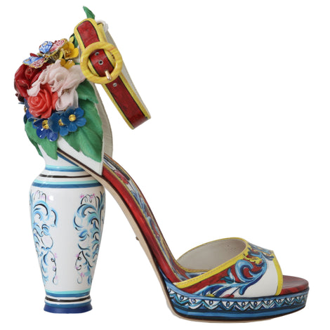 Dolce & Gabbana Majolica Leather Crystal Vase Heels - Women - Shoes - Sandals - Dolce & Gabbana | Gethuda Fashion
