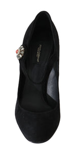 Dolce & Gabbana Black Leather Crystal Mary Jane - Women - Shoes - Pumps - Dolce & Gabbana | Gethuda Fashion