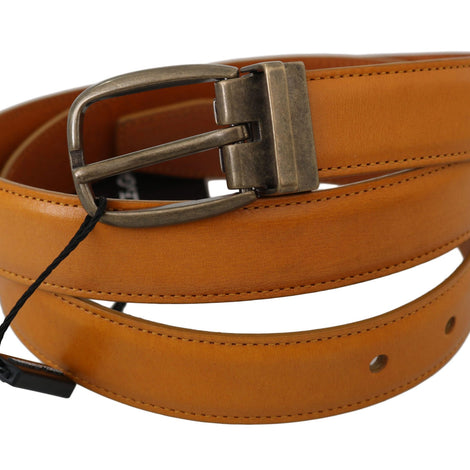 Dolce & Gabbana Yellow Calfskin Leather Metal Buckle Belt