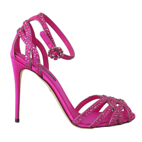 Dolce & Gabbana Pink Leather Crystal Strass Sandals