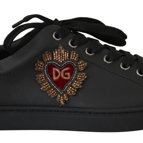 Dolce & Gabbana Black Leather Beaded Red Heart Mens Sneakers - Men - Shoes - Sneakers - Dolce & Gabbana | Gethuda Fashion