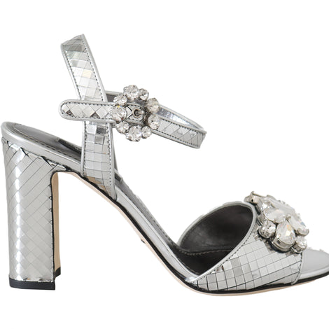 Dolce & Gabbana Silver Mirrored Crystal Leather Sandals