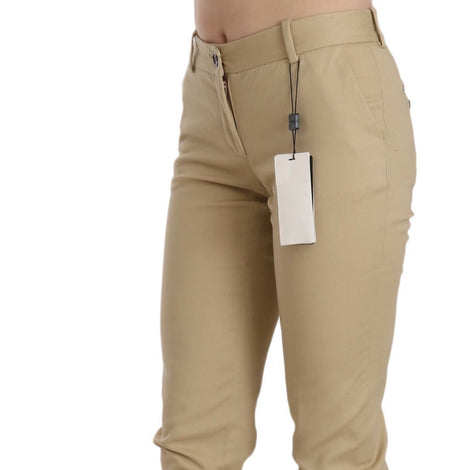 Dolce & Gabbana Khaki Casual Fitted Cotton Trousers Pants - Women - Apparel - Pants - Trousers - Dolce & Gabbana | Gethuda Fashion