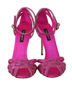 Dolce & Gabbana Pink Leather Crystal Strass Sandals - Women - Shoes - Sandals - Dolce & Gabbana | Gethuda Fashion
