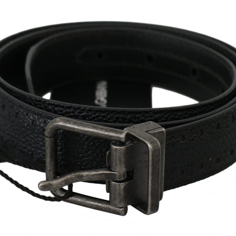 Dolce & Gabbana Black Calfskin Leather Silver Buckle Belt