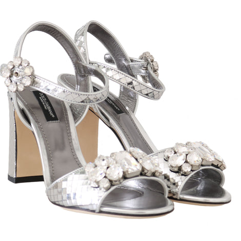 Dolce & Gabbana Silver Mirrored Crystal Leather Sandals - Women - Shoes - Sandals - Dolce & Gabbana | Gethuda Fashion