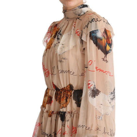 Dolce & Gabbana Beige Rooster Print Silk Maxi Dress - Women - Apparel - Dresses - Casual - Dolce & Gabbana | Gethuda Fashion