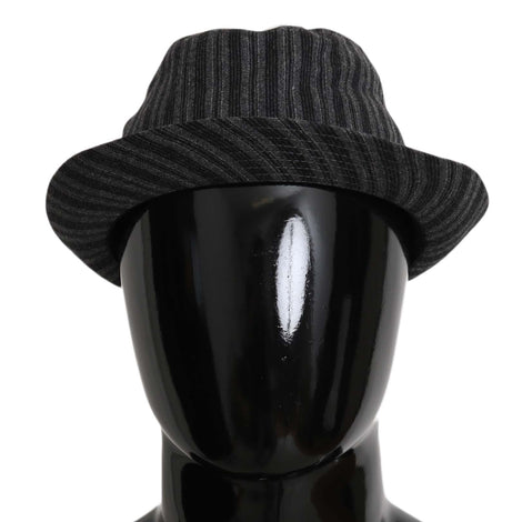 Dolce & Gabbana Gray Striped Wool Blend Fedora Trilby Hat - Men - Accessories - Hats - Dolce & Gabbana | Gethuda Fashion