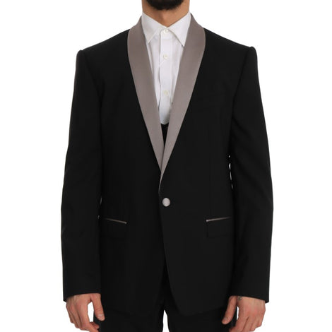 Dolce & Gabbana Black Wool Silk Martini Slim Smoking Suit