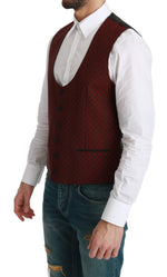 Bordeaux Dotted Waistcoat Formal Wool Vest