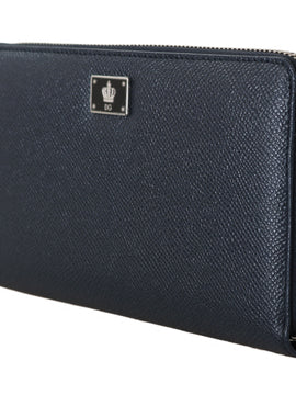 Dolce & Gabbana Blue Leather Dauphine Continental Mens Zipper Wallet