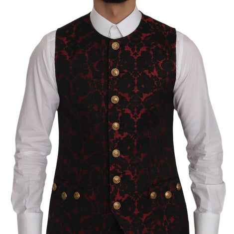 Dolce & Gabbana Red Black Brocade Slim Formal Vest