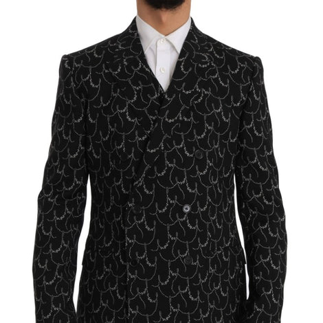Dolce & Gabbana Black Wool Martini Slim Double Breasted Suit