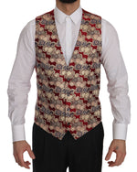 Dolce & Gabbana Red Gold Jacquard Slim Fit Vest - Men - Apparel - Suits - Vest - Dolce & Gabbana | Gethuda Fashion