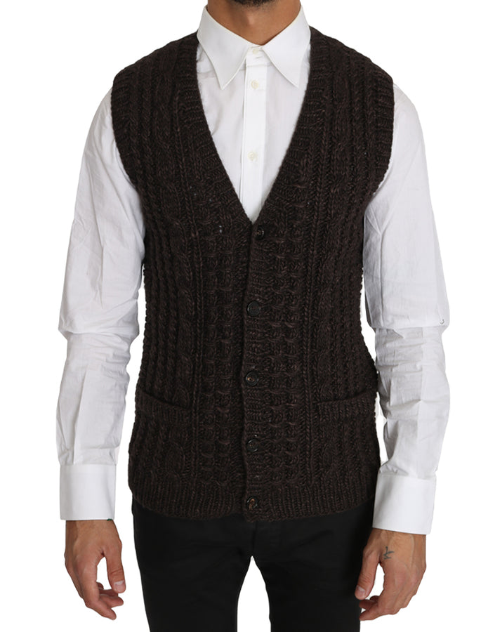 Dolce & Gabbana Brown Knitted Wool Vest Cardigan Sweater - Men - Apparel - Sweaters - Pull Over - Dolce & Gabbana | Gethuda Fashion