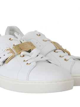 Dolce & Gabbana White Leather Gold Buckle Sport Sneakers