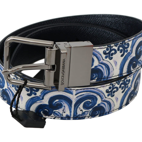 Dolce & Gabbana Majolica Blue White Leather Buckle Belt