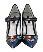 Dolce & Gabbana Blue Leather Crystal Mary Jane Pumps - Women - Shoes - Pumps - Dolce & Gabbana | Gethuda Fashion