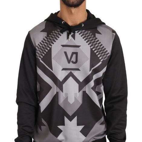 Hooded Black Gray Pullover - Men - Apparel - Shirts - T Shirts - Versace Jeans | Gethuda Fashion