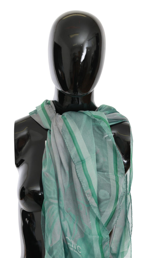 Green Silk Shawl Foulard Wrap Scarf