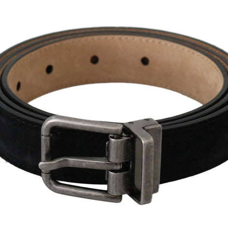 Dolce & Gabbana Black Leather Suede Silver Buckle Belt