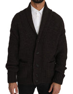 Brown Knitted Wool Button Cardigan Sweater - Men - Apparel - Sweaters - Pull Over - Dolce & Gabbana | Gethuda Fashion