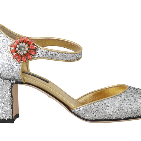 Dolce & Gabbana Silver Leather Fur Crystal Pumps