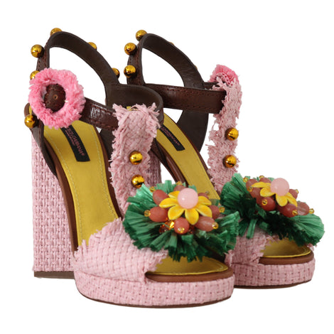 Dolce & Gabbana Pink Raffia Crystal Leather Sandals
