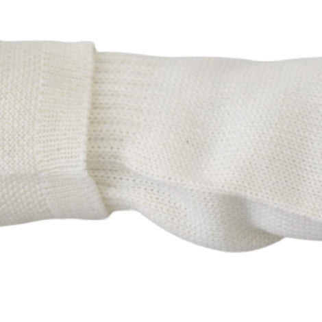 White Wool Knitted One Size Wrist Length Gloves