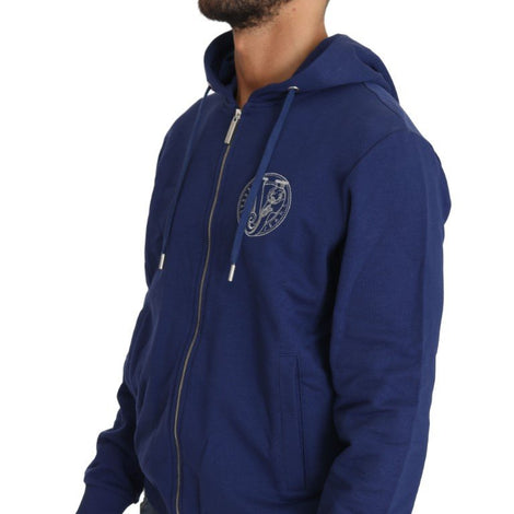Hooded Blue Cotton Full Zipper Sweater - Men - Apparel - Sweaters - Pull Over - Versace Jeans | Gethuda Fashion