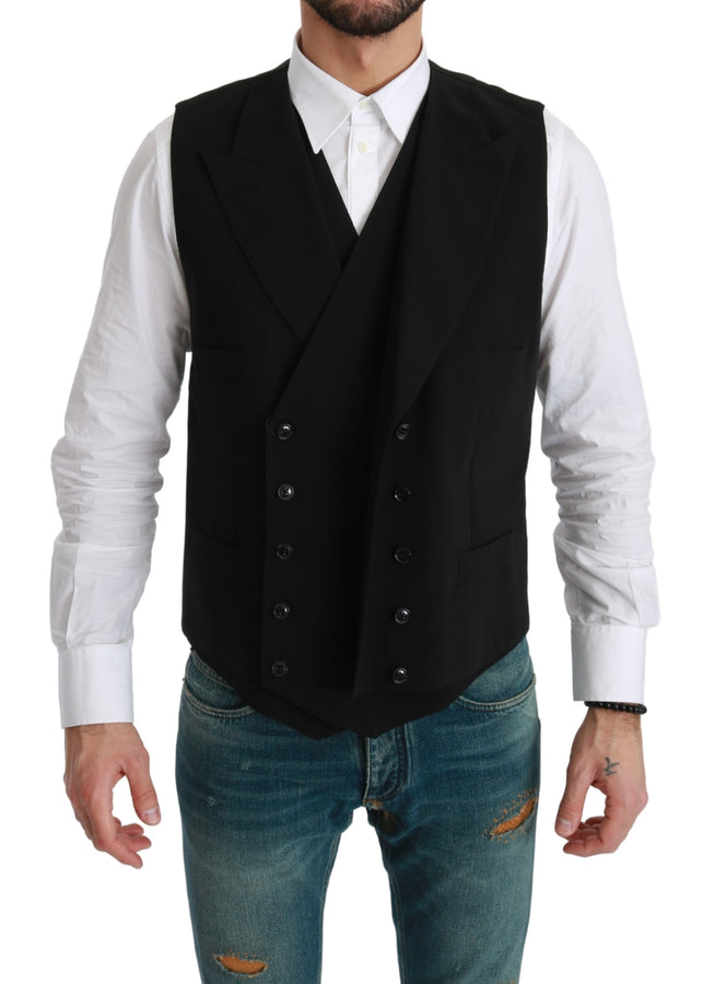 Black Waistcoat Formal Double  Breasted Vest