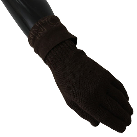 Brown Wool Knitted One Size Wrist Length Gloves