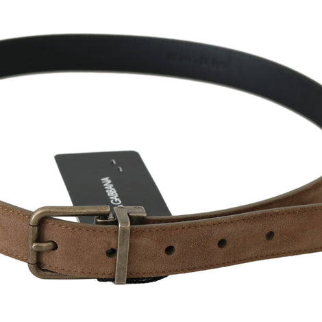 Dolce & Gabbana Brown Suede Gold Metal Buckle Belt