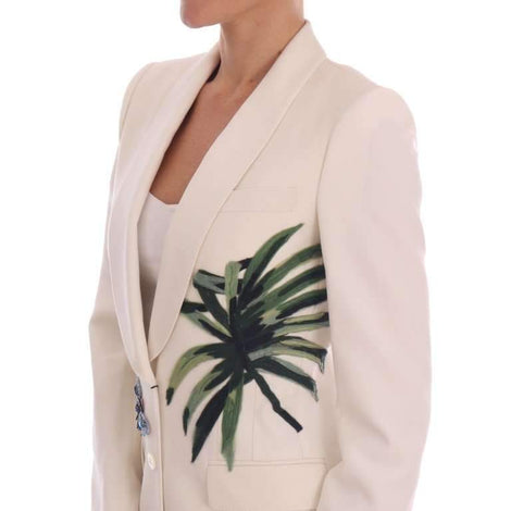 Dolce & Gabbana White Wool Crystal Blazer Jacket