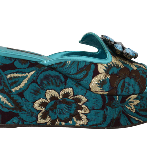 Dolce & Gabbana Blue Gold Leather Jacquard Crystal Slides - Women - Shoes - Wedges Espadrilles - Dolce & Gabbana | Gethuda Fashion
