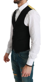 Black Gold Waistcoat Formal Wool Stretch Vest