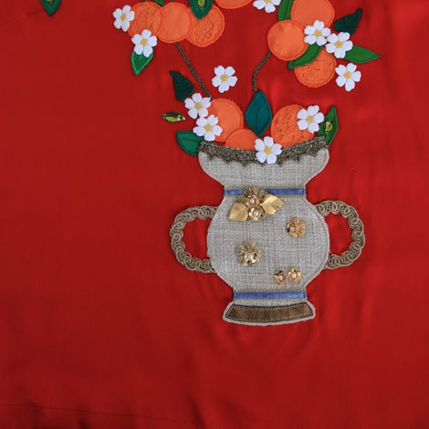 Dolce & Gabbana Red Silk Oranges Floral Crystal Blouse
