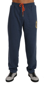 Blue Cotton Sweater Pants Tracksuit -  - Billionaire Italian Couture | Gethuda Fashion