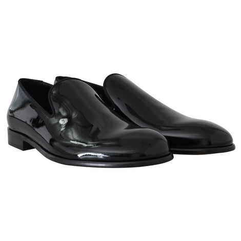 Dolce & Gabbana Black Patent Leather Mens Loafers