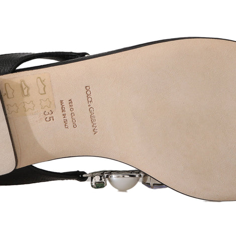 Dolce & Gabbana Black Leather Pearl Crystal Flip Flops - Women - Shoes - Flats - Dolce & Gabbana | Gethuda Fashion