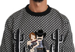 Dolce & Gabbana Black Cactus Pattern Cowboy Sweater - Men - Apparel - Sweaters - Pull Over - Dolce & Gabbana | Gethuda Fashion
