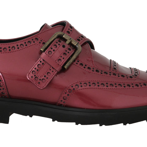 Dolce & Gabbana Pink Leather Monkstrap Dress Formal Shoes
