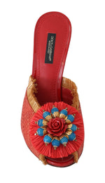 Dolce & Gabbana Red Straw Open Toes Crystal Sandals - Women - Shoes - Sandals - Dolce & Gabbana | Gethuda Fashion
