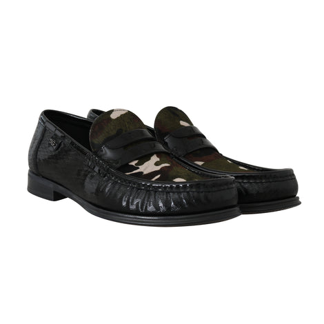 Dolce & Gabbana Black Leather Moccasins Pony Loafers - Men - Shoes - Loafers Drivers - Dolce & Gabbana | Gethuda Fashion