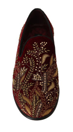 Dolce & Gabbana Red Velvet Crystal Sequined Loafers